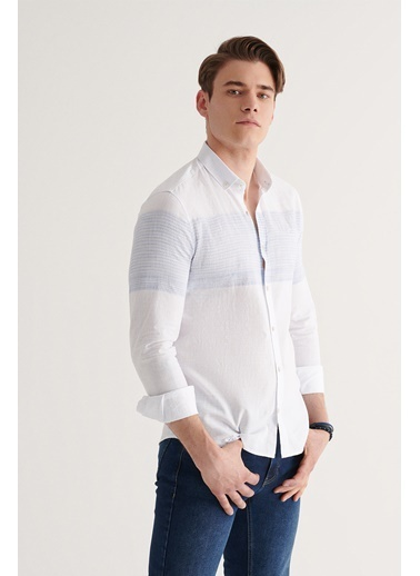 Avva Erkek Enine Jakar Düğmeli Yaka Slim Fit Gömlek A11Y2192 Beyaz